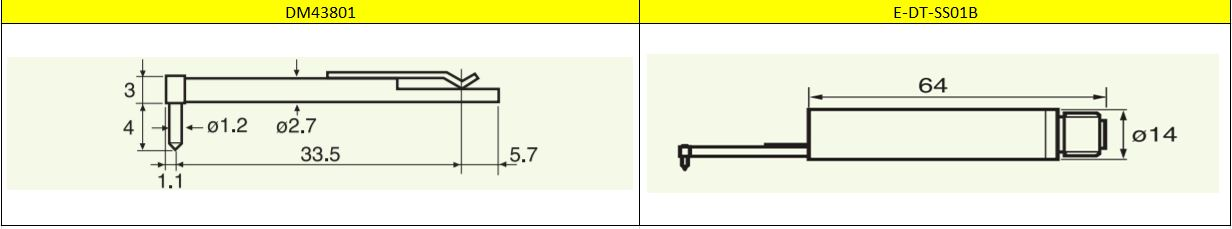 Bản vẽ kỹ thuật của kim đo DM43801 và E-DT-SS01B
