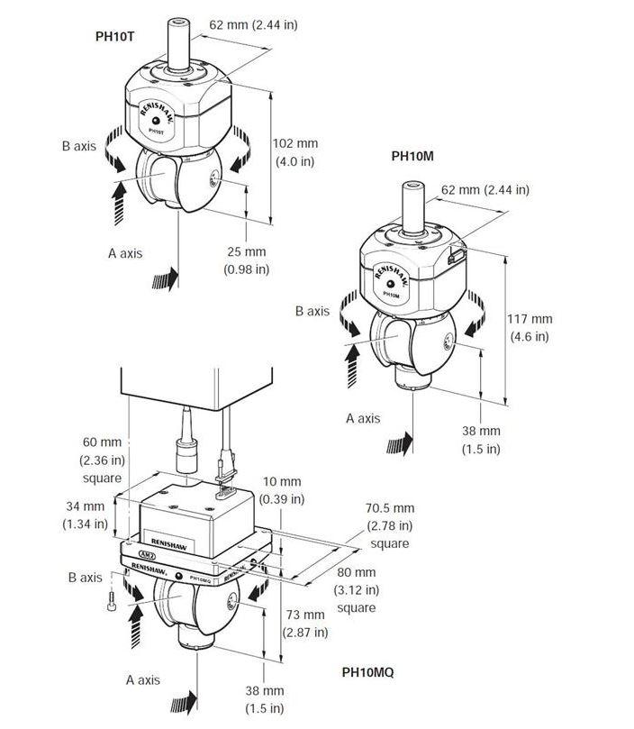 Các biến thể của đầu đo PH10 dùng cho máy đo CMM