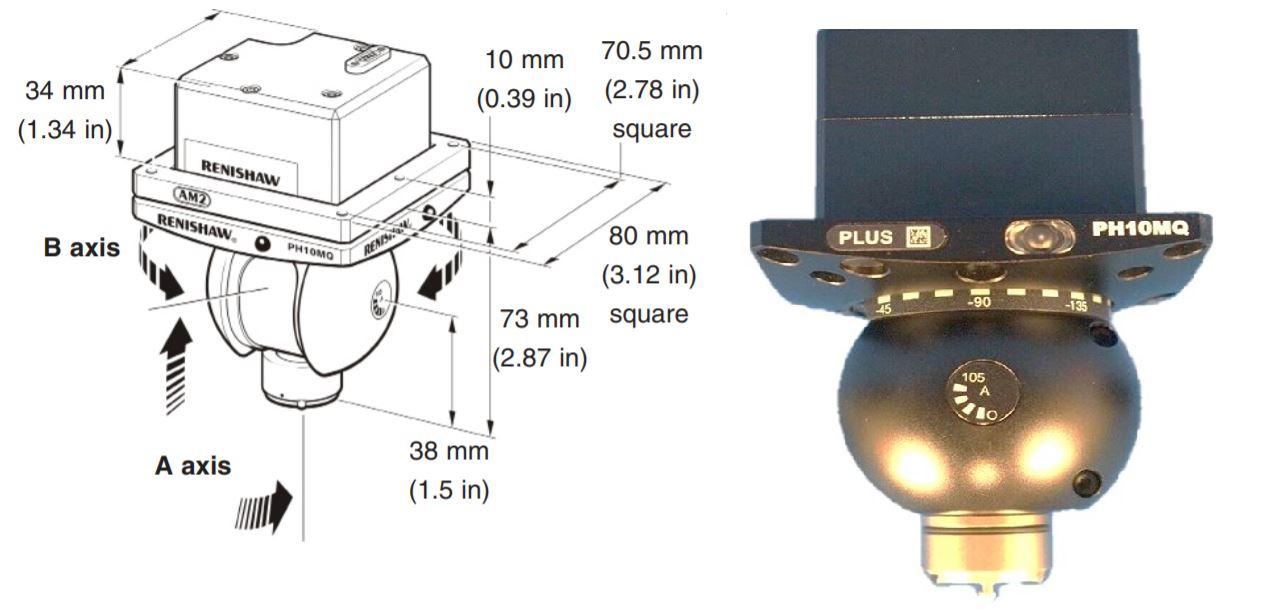 Kích thước Đầu đo máy đo 3D - Renishaw PH10MQ Plus Probe head