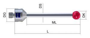 bản vẽ Kim đo - styli 626115-0200-034 máy đo CMM Zeiss