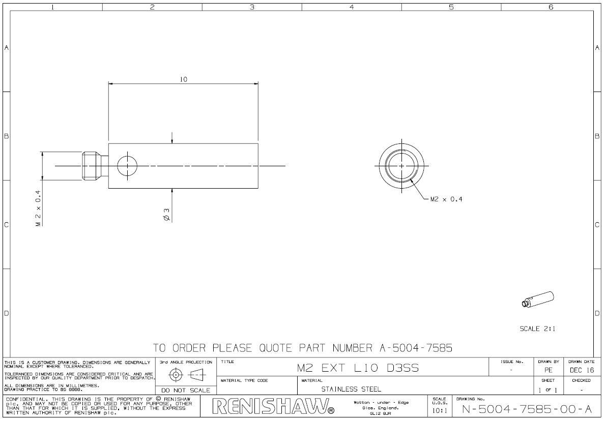 Bản vẽ Khớp nối Phần mở rộng bằng thép không gỉ M2, L 10 mm A-5004-7585 Renishaw